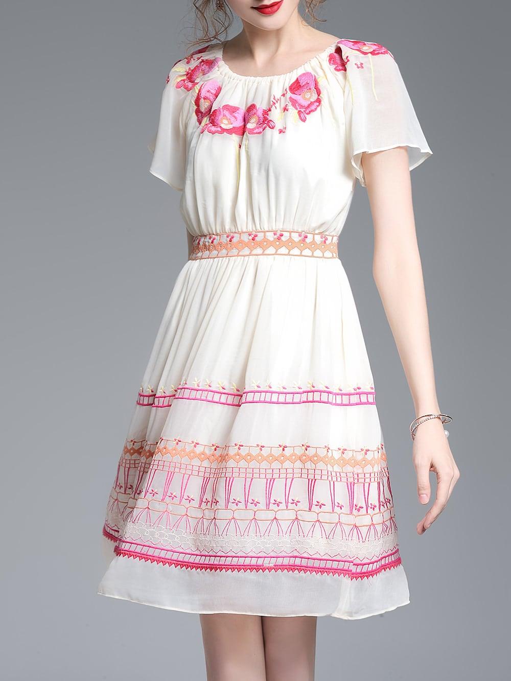 Фото Flowers Embroidered A-Line Dress. Купить с доставкой