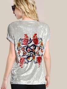 Flower Print Cuffed T-shirt