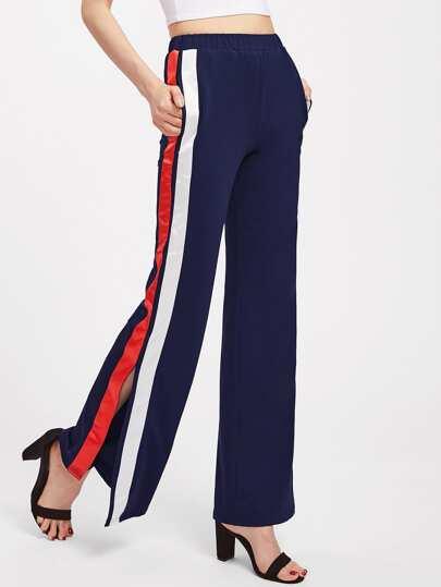 Split Striped Side Pants