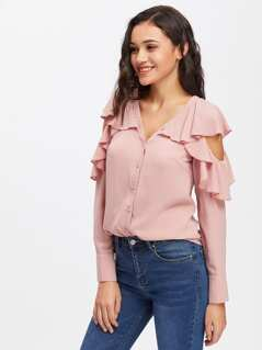 Button Up Flounce Trim Cut Out Shoulder Blouse