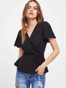Surplice Neckline Puff Sleeve Tie Waist Top