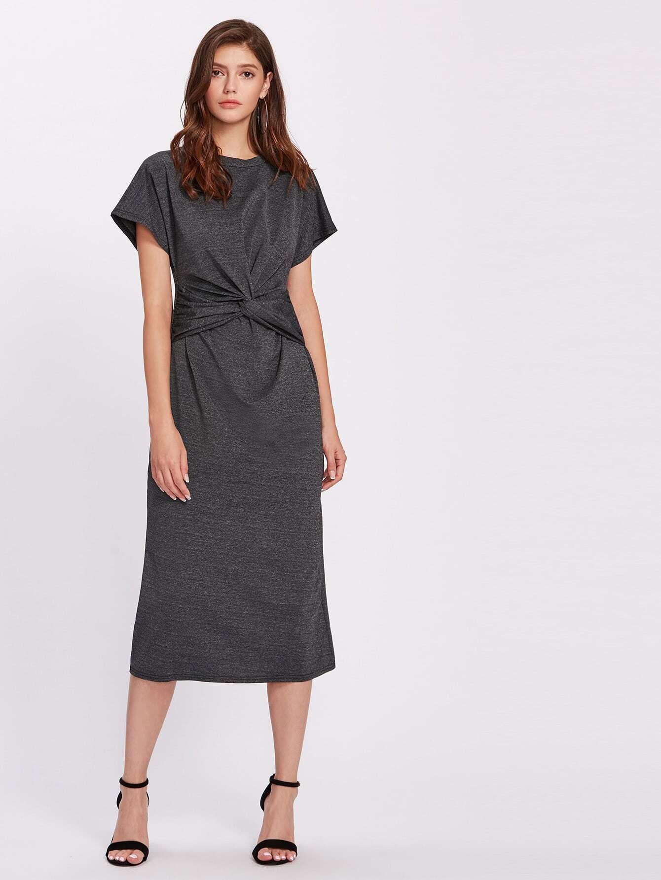 Фото Twist Waist Marled Midi Dress. Купить с доставкой
