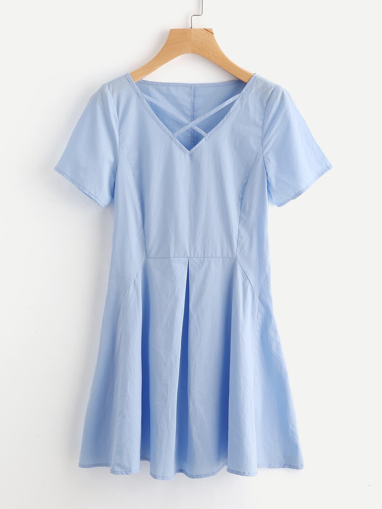 Фото Crisscross Neck Fold Pleat Dress. Купить с доставкой