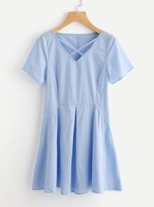 Crisscross Neck Fold Pleat Dress