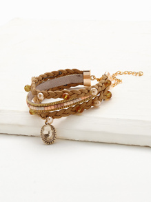 Crystal Detail Woven Layered Bracelet