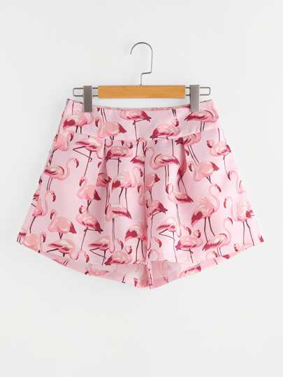 Flamingo Print Zipper Side Shorts