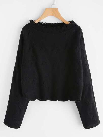 Distressed Boat Neck Textured Jumper