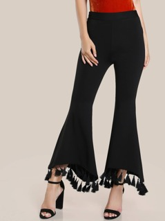 Tassel Trim Staggered Flare Pants