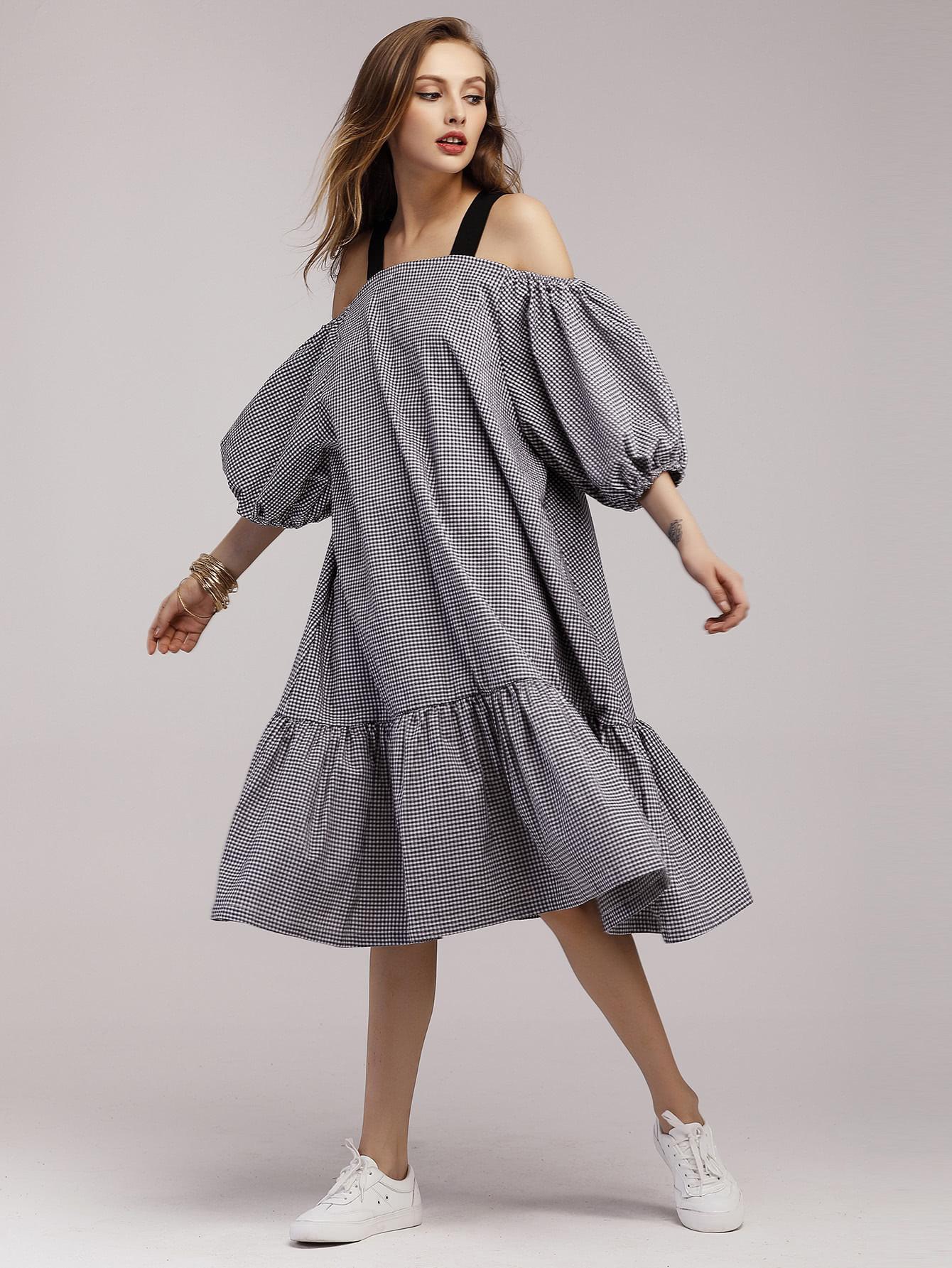 Gingham Lantern Sleeve Frill Hem Dress gathered sleeve curved dip hem gingham dress