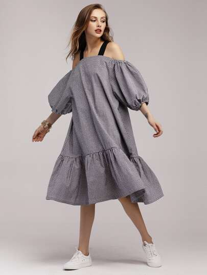 Gingham Lantern Sleeve Frill Hem Dress