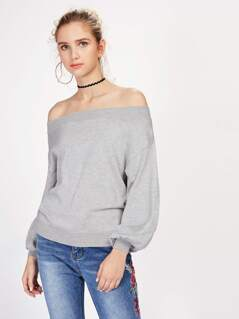 Heather Knit Bishop Sleeve Bardot Jumper