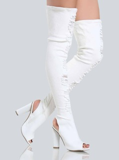 Distressed Denim Thigh Highs WHITE