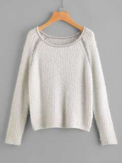 Metal Chain Detail Loose Knit Fluffy Jumper