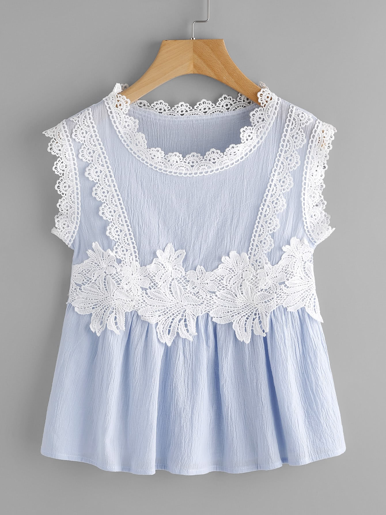 Contrast Crochet Trim Smock Top