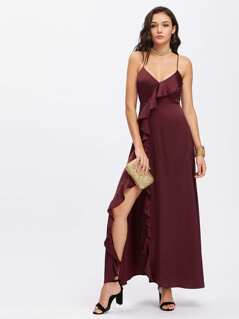 Lace Up Back Ruffle Slit Cami Dress