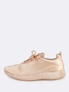 Metallic Ribbed Lace Up Sneakers ROSE GOLD