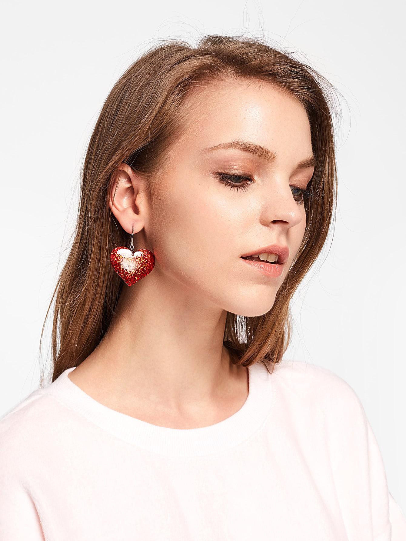 Sequin Heart Design Drop Earrings