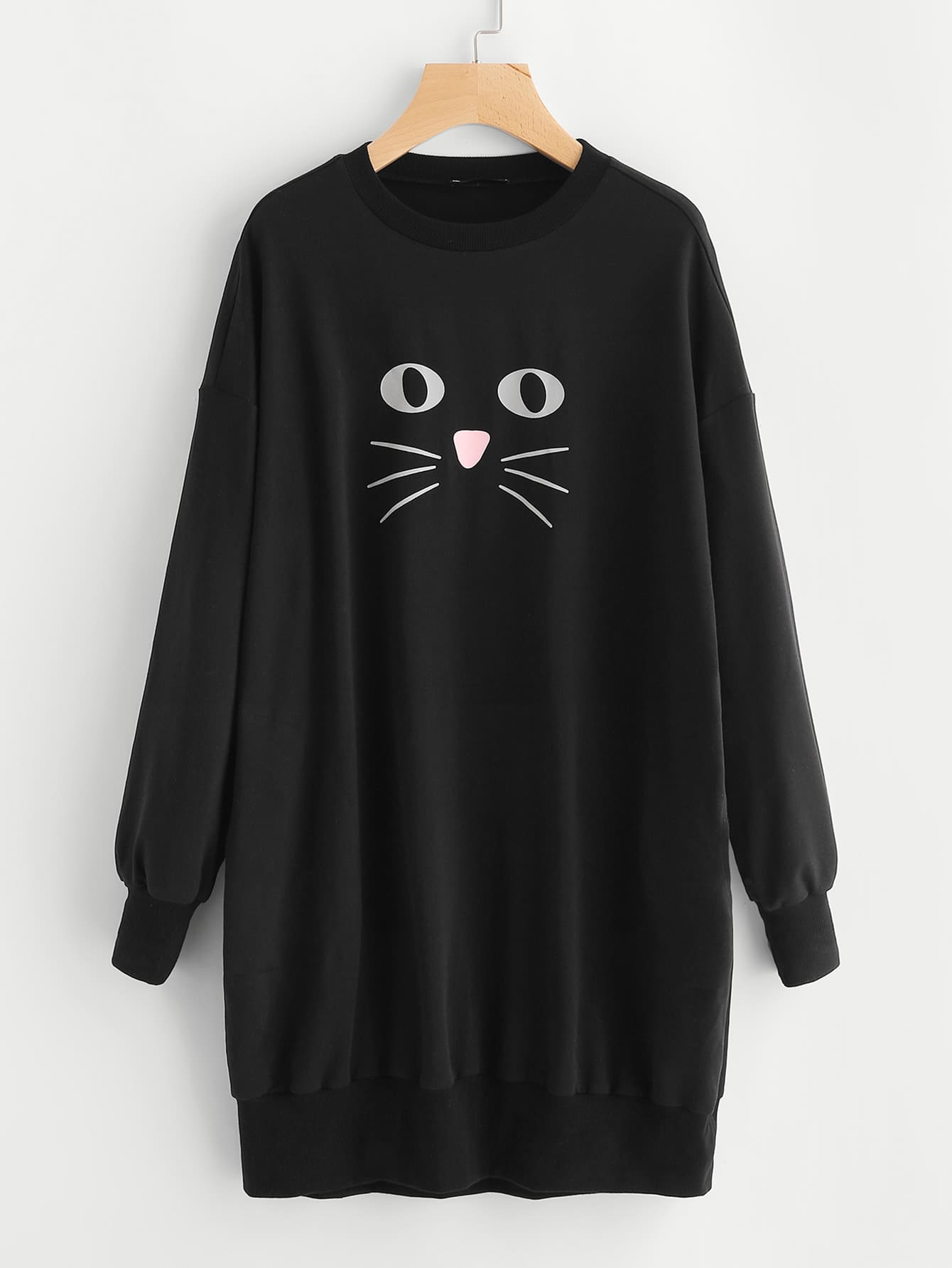 Cat Print Drop Shoulder Sweatshirt Dress plus size drop shoulder christmas cat print pullover sweatshirt