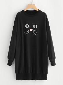 Cat Print Drop Shoulder Sweatshirt Dress