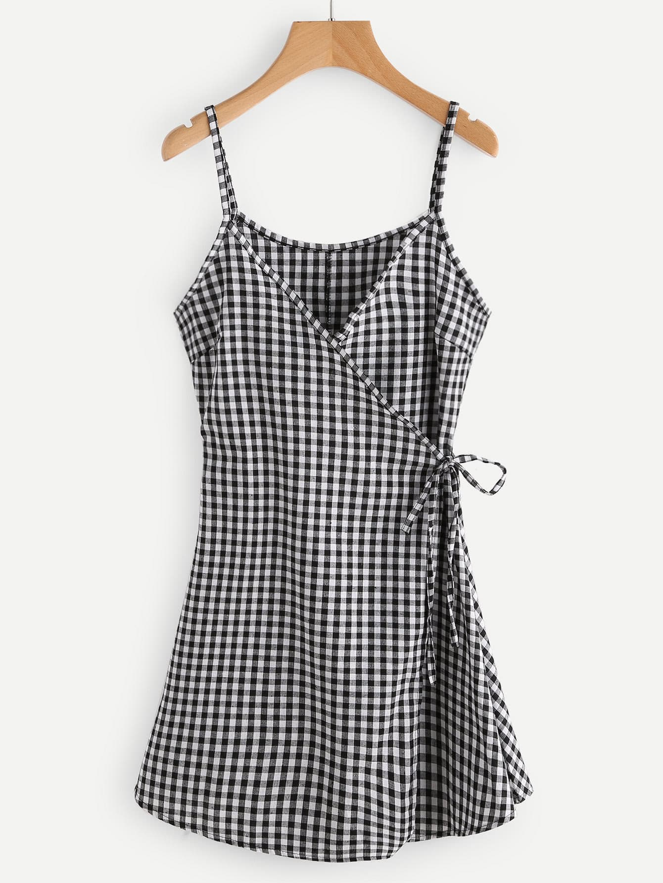 Gingham Print Wrap Self Tie Waist Cami Dress Shein Sheinside