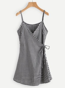 Gingham Print Wrap Self Tie Waist Cami Dress