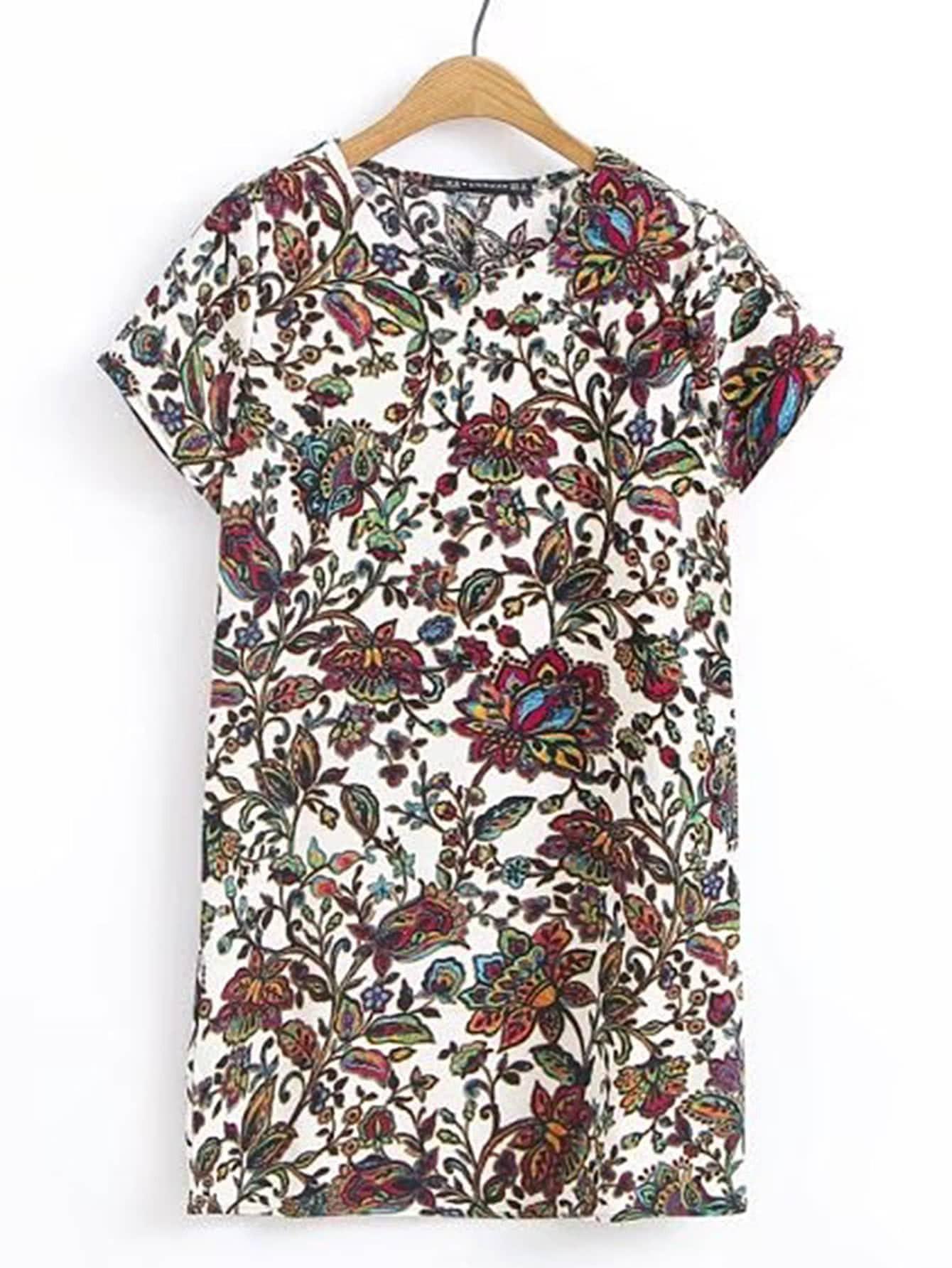 Фото Floral Print Short Sleeve Dress. Купить с доставкой