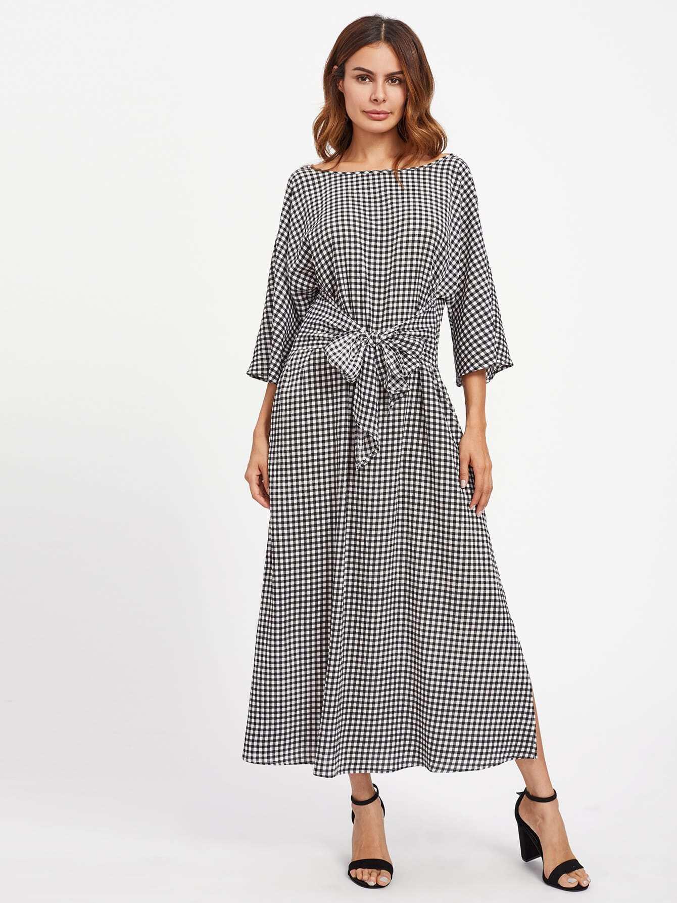 Image of Bow Tie V Back Slit Gingham Dress