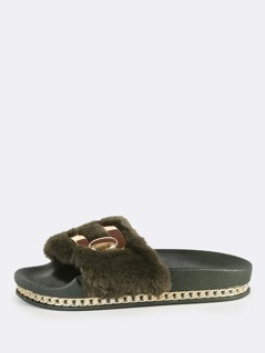 Furry Fur Flatform Slides OLIVE