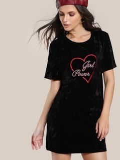 Crushed Velvet Graphic Tee Dress