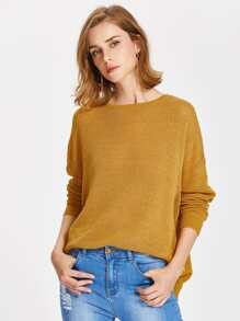 Drop Shoulder Distressed Overlap Jumper