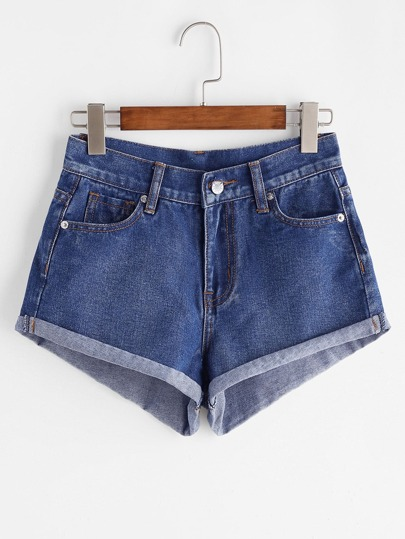 Shorts en denim con vueltas - azul