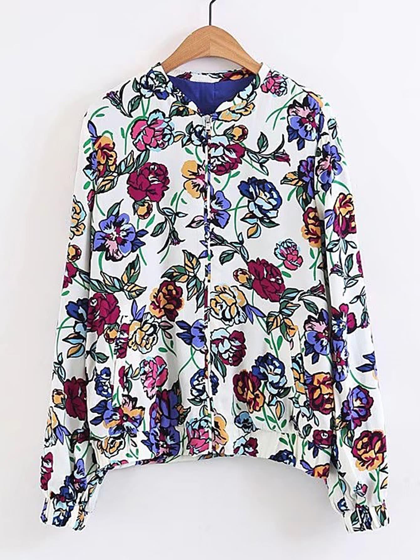 Фото Floral Print Elastic Cuff Jacket. Купить с доставкой