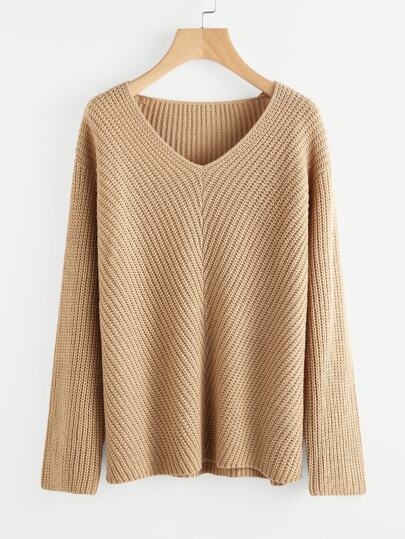 Drop Shoulder V Neck Jumper