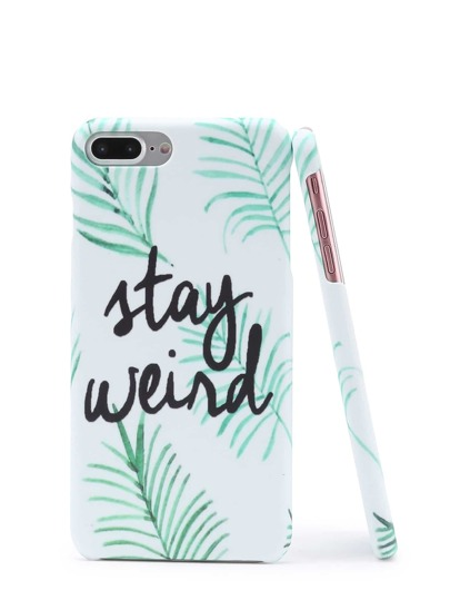Leaf And Letter Print iPhone Case