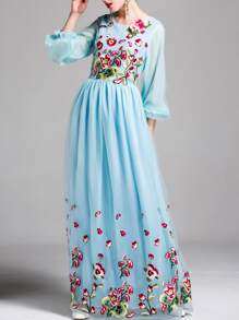 Flowers Applique Puff Sleeve Embroidered Maxi Dress