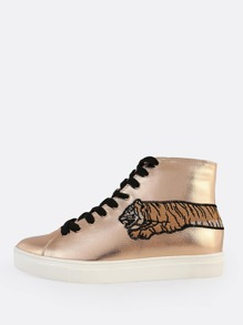 Embroidered Metallic Lace Up Sneaker ROSE GOLD