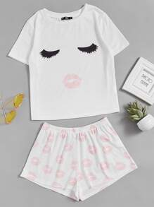 Face Print Top And Red Lip Shorts Pajama Set