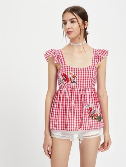 Embroidered Flower Patch Ruffle Strap Gingham Babydoll Top pictures