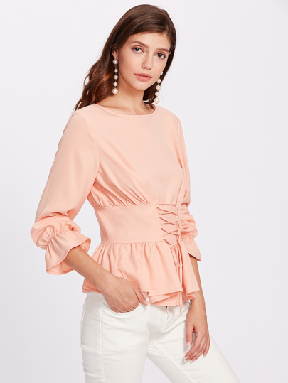 Bell Cuff Lace Up Peplum Top