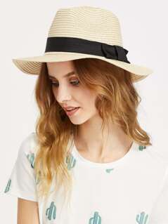 Bow Detail Straw Fedora Hat