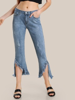 Frayed Hem Dark Wash Pants DENIM