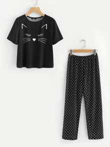 Cartoon Print Top And Polka Dot Pants Pajama Set