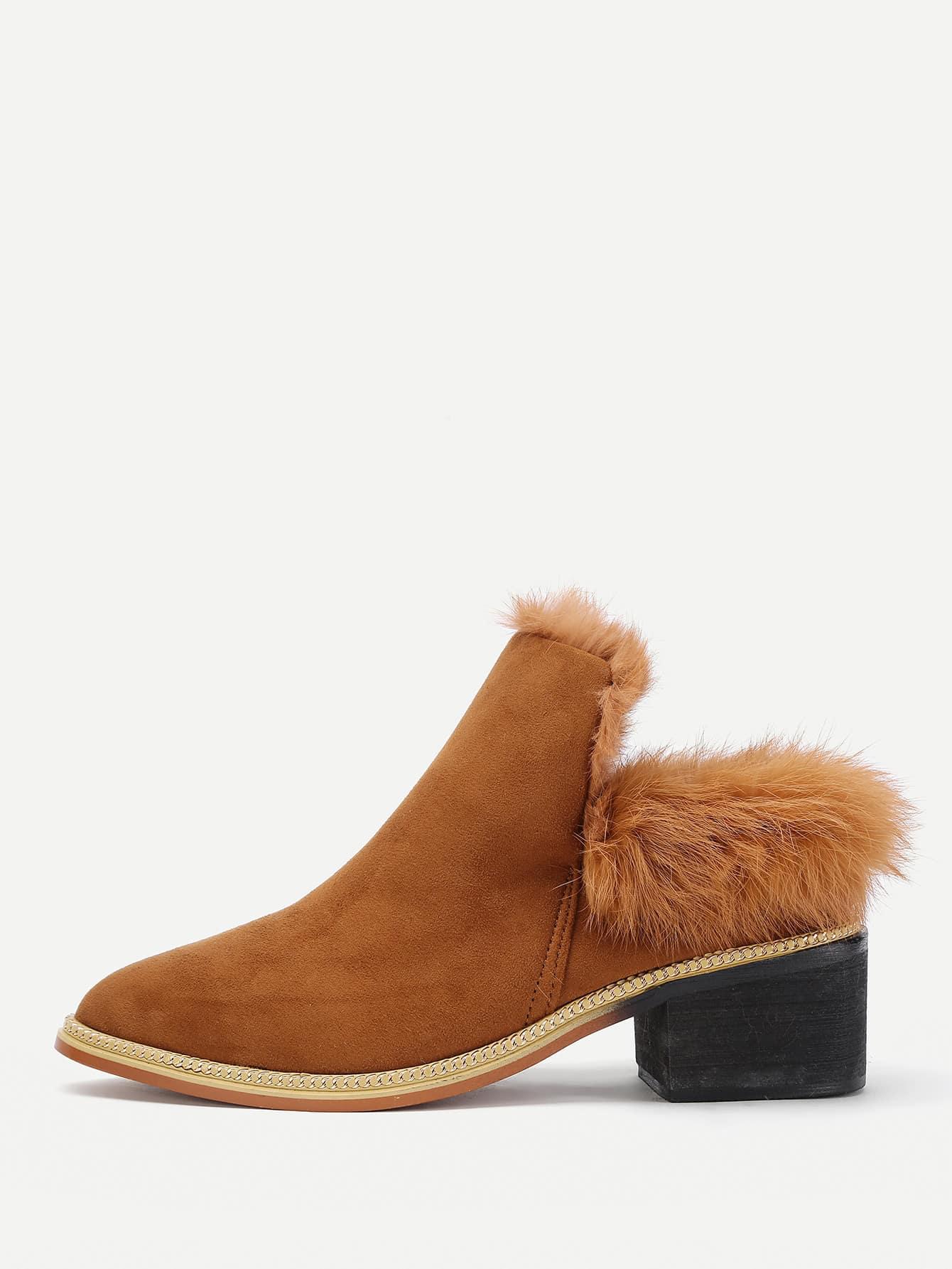 Фото Faux Fur Design Block Heeled Boots. Купить с доставкой