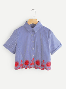 Hollow Out Embroidery Scallop Hem Striped Shirt