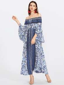 Tie Neck Fluted Sleeve Bardot Dress