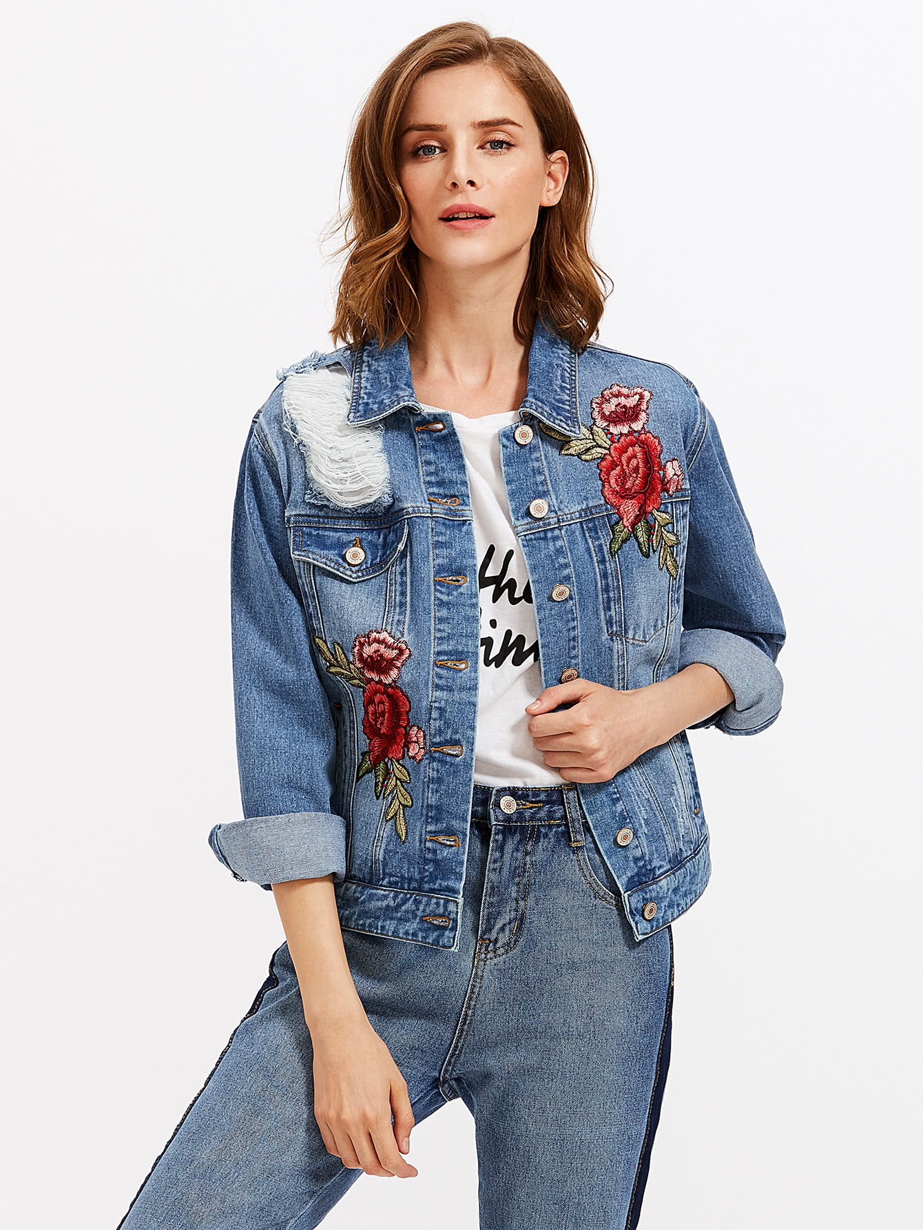 Embroidered Rose Patch Ripped Denim Jacket rose embroidered ripped long tee