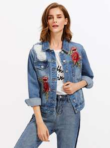 Embroidered Rose Patch Ripped Denim Jacket