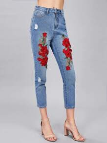 3D Flower Applique Crop Jeans