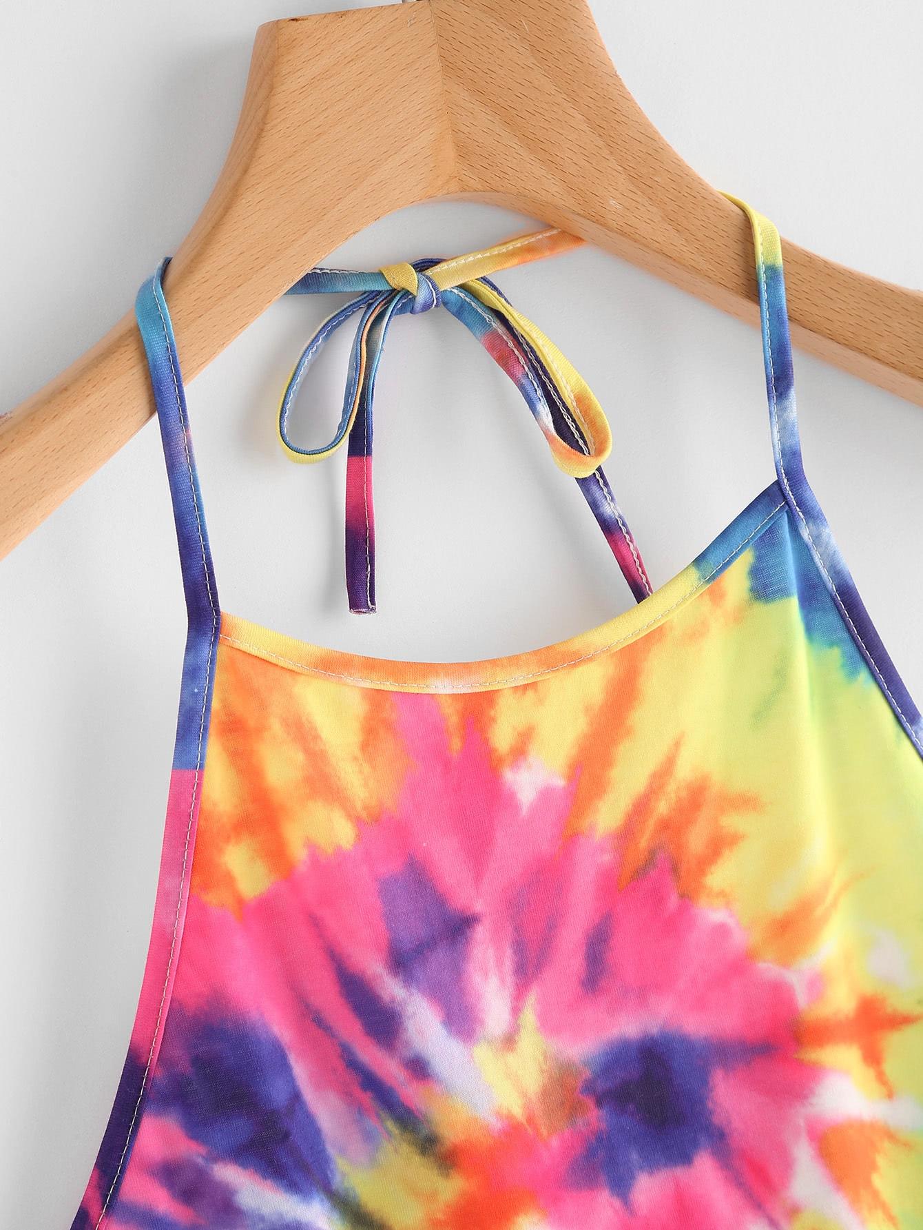 Spiral Tie Dye Print Tie Halter Top