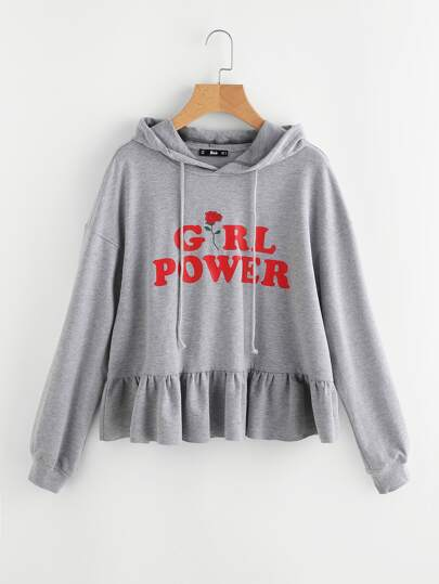 Frill Trim Girl Power Heather Knit Hoodie
